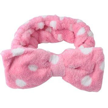 FOONEE Lovely Pink Heart Shaped Soft Carol Fleece Bow Cosmetic Headband