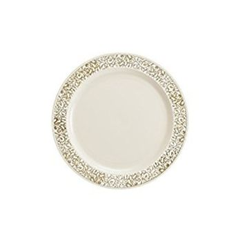 Party Bargains Ivory Gold Plastic Plate | Elegant Gold Lace Rim & Durable Lace Collection Disposable Plates Perfect for Wedding and Party Dinnerware - 7.5 Inch | Pack of 40
