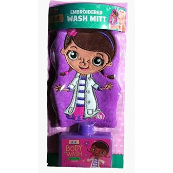Doc McStuffins Childrens Embroidered Hanging Wash Mitt & Berry Body Wash Set for Bathtub Bath Time