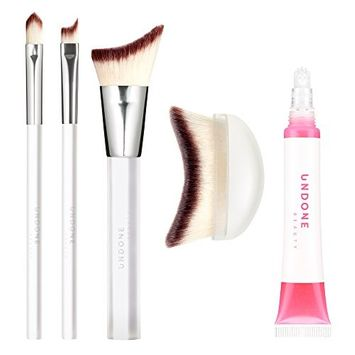 Angled Precision & Palm Makeup Brush + FREE Lip Life 5 CT Gift Set - UNDONE BEAUTY Game Changer (Handcrafted Precision Lip, 1 Touch Winged Eye, Precision & Palm Makeup Brushes). Face & Body. SET of 5
