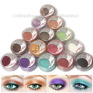 Amazing Gift! USPS Shipping! 15 Cold Smoked Metals Color Glitter Shimmer Pearl Loose Eyeshadow Pigments Mineral Eye Shadow Dust Powder Makeup Party Cosmetic Set #B
