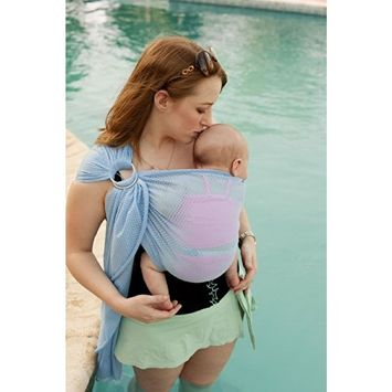 Beachfront Baby - Versatile Water & Warm Weather Ring Sling Baby Carrier | Made in USA with Safety Tested Fabric & Aluminum Rings | Lightweight, Quick Dry & Breathable (Sky Blue, Petite)