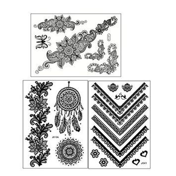ChicTats Black Lace Temporary Tattoos 3-Sheet Pack - Body Art & Jewellery for Women & Girls - Waterproof Fashionable Body Makeup/Stickers - What you see in the main image is what you will get