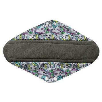 14 Inch Overnight Charcoal Bamboo Mama Cloth/ Menstrual Pads/ Reusable Sanitary Pads (Colorful Elephant)