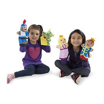 Melissa & Doug Palace Pals Hand Puppets (Set of 4) - Prince, Princess, Knight, and Dragon