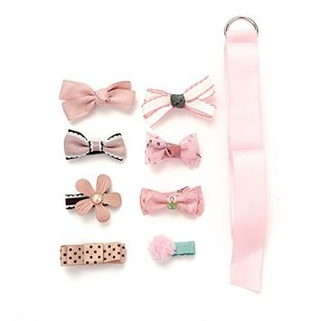 MISM Baby Girls Cute Bow Hair Clips Set Infant Flower Hair Accessories Barrettes(8pcs)-pink