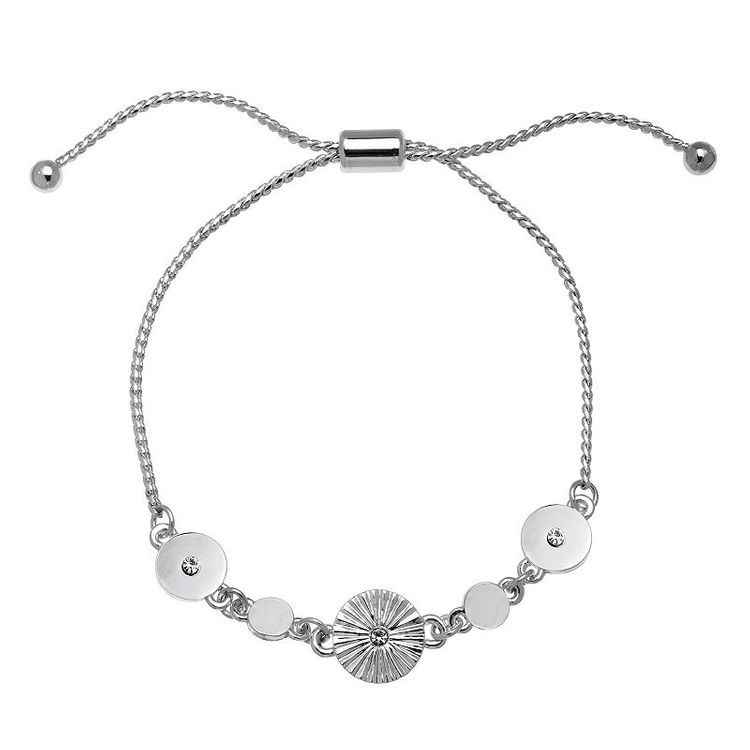 LC Lauren Conrad Simulated Crystal Disc Slider Bracelet, Women's, Silver