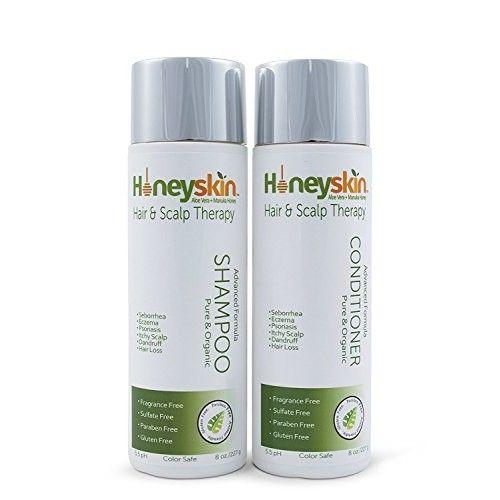 Dry Scalp Treatment Shampoo Conditioner Set for Eczema, Psoriasis, Seborrhea, Dandruff, Itchy Scalp - Natural Organic Ingredients of Manuka Honey & Aloe Vera (4oz) by Honeyskin Organics