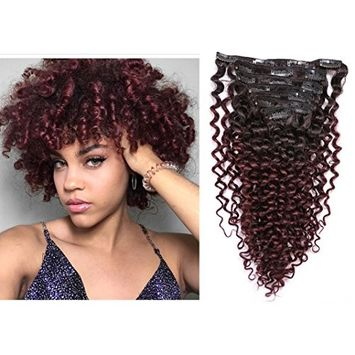 Lacer Ombre Curly Clip in Human Hair Extensions Kinky Curly Two Tone 1B/99J Natural Color to Red Wine 3B 4A Real Remy African American Human Hair Extensions Double Weft For Black Women 12 inch