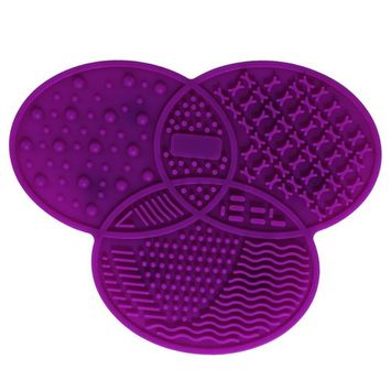 AENMIL Silicone Makeup Brush Wash Cleaning Mat, Three-leaf Round Shape Pad with Suction Solid Adsorption, Professional Clean Tools - Purple