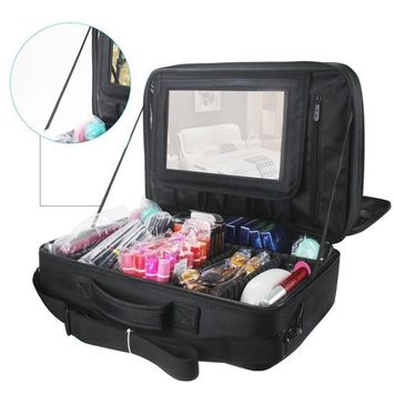 LOUISE MAELYS Large 3 Layer Artist Makeup Train Case with Mirror Cosmetic Bag fit Trolley for Travel