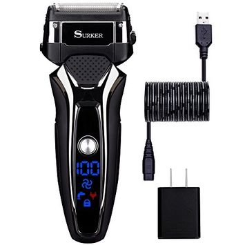 Electric Shaver for Men Wet Dry Foil Shaver Mens Electric Razor USB Charge 90 Minutes Lithium Battery Life Fathers Day Gifts Surker RSCW-9008 [Electric razor]