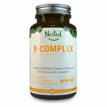 All 8 B-Complex Vitamins Plus Choline & Inositol | 60 Vegan Capsules | High Potency Multi B Vitamin with Pure Methyl B12, Folic Acid 400mcg | Best B-Vitamins Complex Supplement for Men & Women
