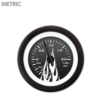 Aurora Instruments GAR195ZMXMACCC Turbo Gauge - Metric Carbon Fiber White Flame, Black Modern Needles, Black