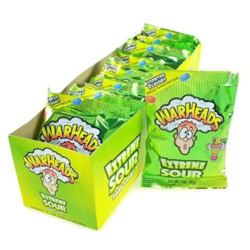 Warheads Mega Extreme Sour Hard Candy 1-Ounce Packs (Pack of 12)