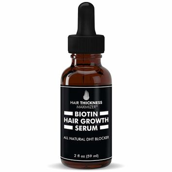 Hair Growth Serum With Biotin Oil By Hair Thickness Maximizer. For Hair Loss + Damaged, Dry, Frizzy Hair. Natural Thickening and Smoothing of Hair and Nourishing of Scalp For Women and Men