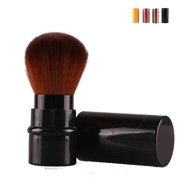 Retractable Powder Brush Makeup Foudation Blush Liquid Brush With Dense Synthetic Fiber Bristles(Black)