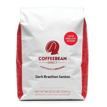 Coffee Bean Direct Dark Brazilian Santos, Dark Roast, Ground Coffee, 5 Pound [Dark Brazilian Santos Ground Coffee]