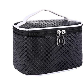 LOUISE MAELYS Zipper Quilted Travel Cosmetic Bag Makeup Train Case Top Handle Toiletry Bag