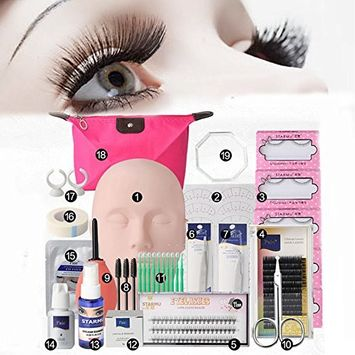 Vinmax Pro Eyelashes Extension Kit &Grafting Eyelash Tools Set&Full Mannequin Training Makeup False Eyelashes Extension Glue Tool Practice Kit Makeup For Beginner False Eyelash Extension Tools