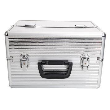 Ktaxon Pro Aluminum Makeup Train Case Jewelry Box Cosmetic Organizer w/Key Lock Silver