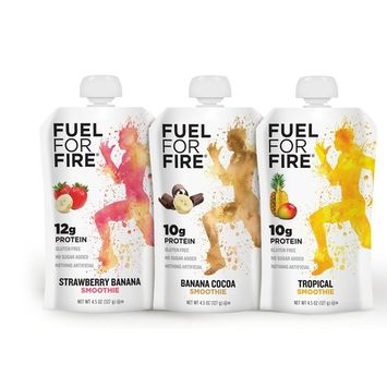 Fuel For Fire - Fruit & Protein Smoothie Squeeze Pouch 4.5 oz - 9 Ingredients - Perfect for Workouts, Kids, Snacking - Gluten-Free, Soy-Free, Kosher, No Added Sugar (Variety - Best Sellers, 24-Pack)