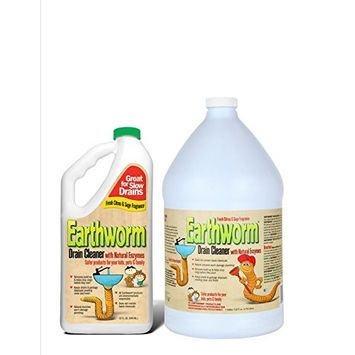 Earthworm® Drain Cleaner - Drain Deodorizer - Natural and Safer for Families - One (1) 1 Gallon bottle