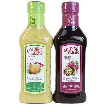 Golding Farms Vidalia Onion Dressing & Raspberry Vinaigrette Dressing, 12 Oz Each (2-Pack Combo)