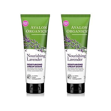 Avalon Organics Nourishing Lavender Moisturizing Cream Shave With Lavender Essential Oil, Aloe, Beta-glucan and Plant Extracts, 8 oz (227 g) (Pack of 2)