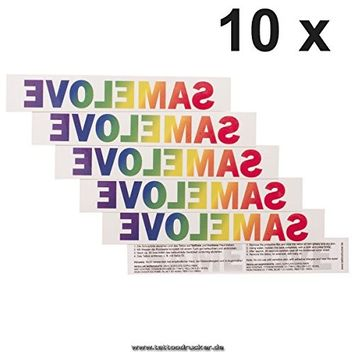 10 x SAMELOVE Rainbow Tattoo - temporary lettering, LGBT, Gay (10)