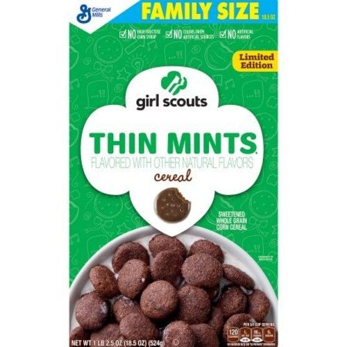 Girl Scouts Limited Edition Thin Mints Sweetend Whole Grain Corn Breakfast Cereal - Multipack Of 2-18.5oz Family Size Boxes