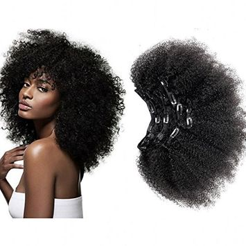 Afro Kinky Curly Clip in Human Remy Hair Extensions Brazilian Curly Clips Hair Extensions 4B 4C 8A Virgin Thick Natural Black Color Clip on For Black Women 12 inch