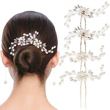 Bridal Hair Pins SuPoo 4 Pack Bride Crystal Rhinestone Hair Pins, Hair Jewelry Hair Accessories for Women Bridal Wedding, Silver