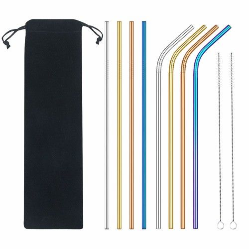 Stainless Steel Straws Extra Long 10.5'' Metal Straws for Drinks with 2 Brushes and Carry Bag (10 Pcs), FDA-Approved Environment-Friendly Straws Tumblers Cold Beverage(Multicolor)