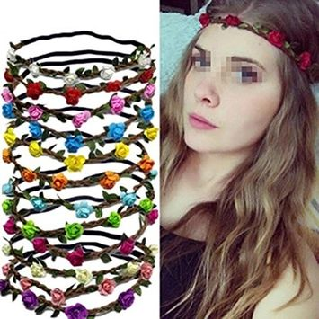Set of 6 Assorted Colours Hippie Flower Crown Headband Halo Women Girls Boho Style Wedding Crown