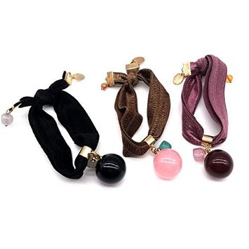 Pack of 3 pcs Ball Knotted Hair Ties Hair Elastics Ties Ponytail Holders Hair Bands