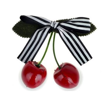 HSF Women's Pink Bow Cherry Hair Clip Hairpin