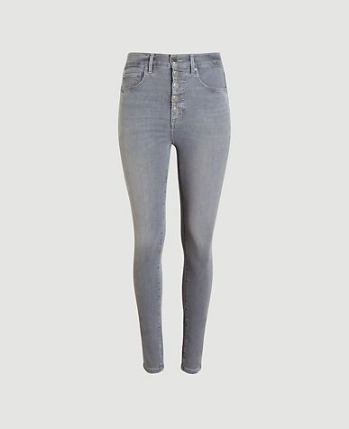 Ann Taylor Petite Sculpting Pocket High Rise Skinny Jeans in Silver Grey Wash