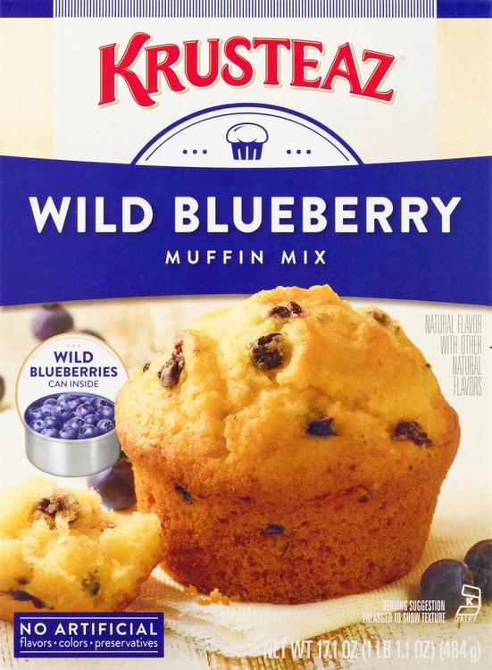 Krusteaz Muffin Mix, Wild Blueberry, Box