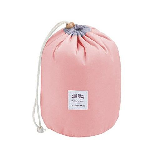 BeeChamp Large Round Travel Toiletry Bag Soft Waterproof Drawstring Bucket Pouch for Bottles Makeups