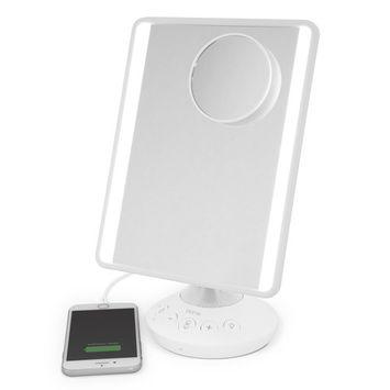 iHome Mirror with Bluetooth Audio, LED Lighting, Bonus 10x Magnification, Siri & Google Support USB Charging 7