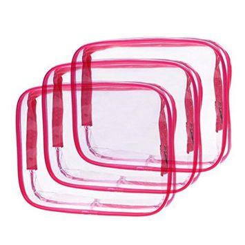 Louise Maelys 3 Packs Clear Cosmetics Bag Waterproof Travel Bag Toiletry Organizer Case Medium Red