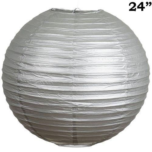 Balsacircle 12 pcs 24' Paper Lanterns Lamp Shades - Silver