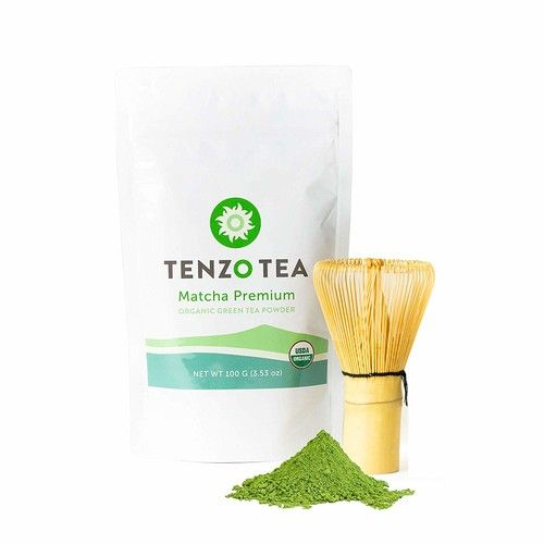 Tenzo Tea (Whisk Included in Box) - Ceremonial Grade Matcha Green Tea Powder (For Sipping as Tea) - USDA Organic, Kosher, Vegan, Paleo/Keto Friendly (100 Gram + Whisk)