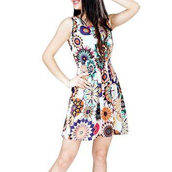 Lookatool 1pc Women Summer Sunflower Beach Mini Dress