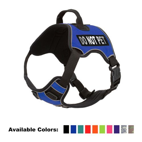 """DogLine - DO NOT PET No-Pull Dog Harness With Reflective Removable Patches Soft Comfortable Vest with Quick Release Dual Buckles Hardware and Handle Quest(Blue: Girth 32"""" - 40"""") [name: character value: character-donotpet]"""