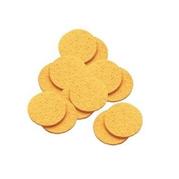 DMtse 12 Pack Round Jumbo Natural Cellulose Mask Removing Sponges Cleansing Facial Sponges Individual Pack - Round 4 Inch (10cm)
