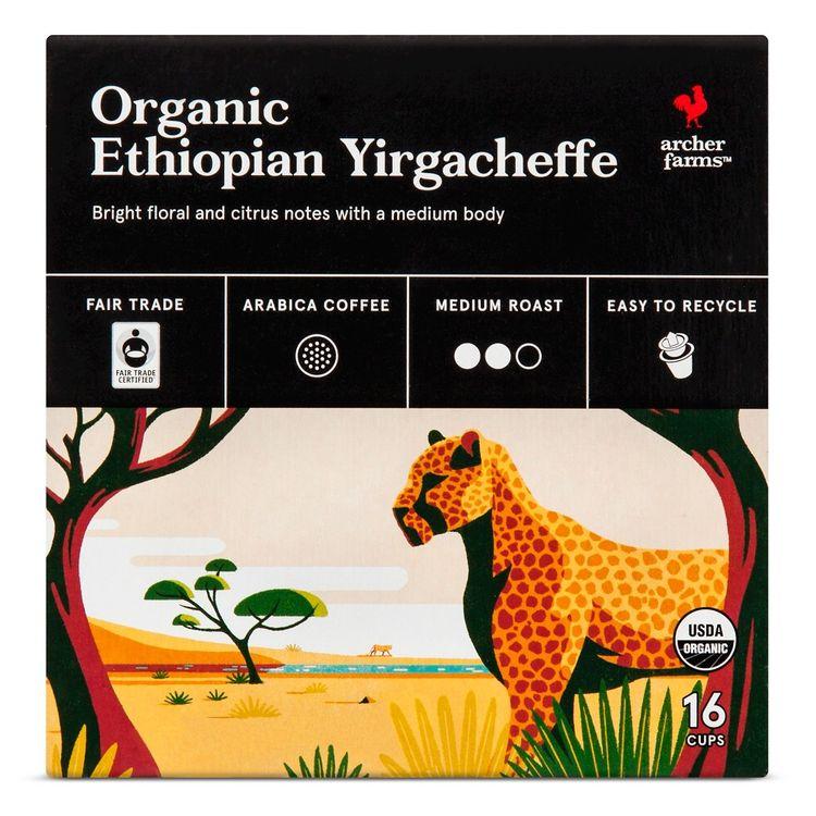 Organic Ethiopian Yirgacheffe Coffee Single Cups 16ct - Archer Farms