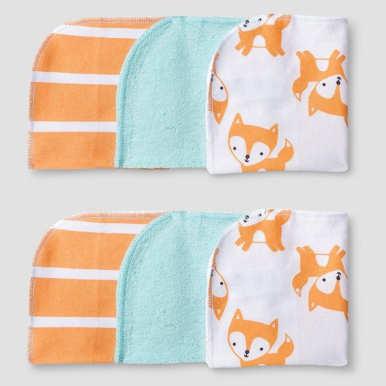 Baby 6 Pack Fox Print Wash Cloth Set Soft Aqua - Cat & Jack Baby