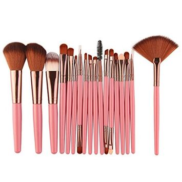 KaiCran 18 pcs Makeup Brush Set tools Make-up Toiletry Kit Wool Make Up Brush Set Fan Brushes